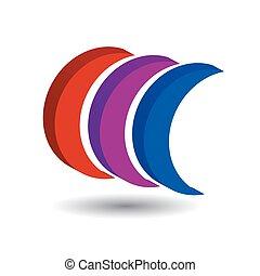 dado forma, logotipo, sombra, crescente, 3d