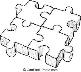 dado forma, vetorial, desenho, -, quebra-cabeça