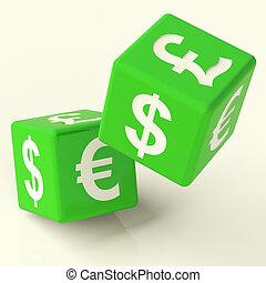 dado, scambio, simbolo, valuta estera, verde, segni