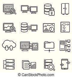 dados, ícones, grande, análise, segurança, dados, linha