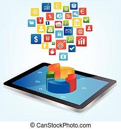 dados, análise financeira, tabuleta