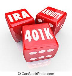 dados, annuity, 3, 401k, ahorros, palabras, ira, suerte, inversión, rojo, riesgo
