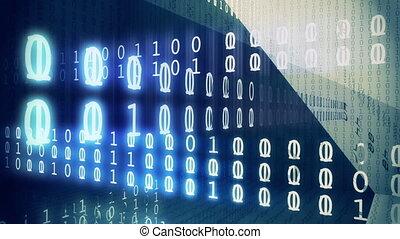dados binários, fluxo, volta