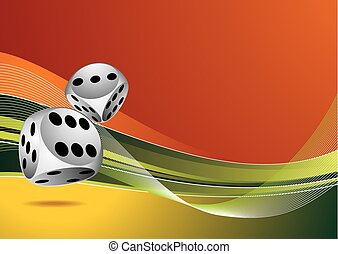 dados, color, casino, dos, ilustración, plano de fondo