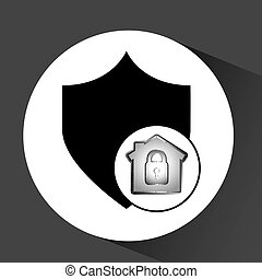 dados computador, escudo, proteção, ícone