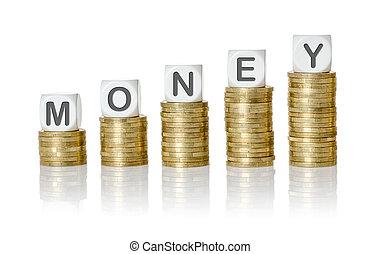 dados, dinero, -, carta, moneda, pilas