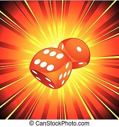 dados, dos, ilustración, fondo., juego, brillante, rojo
