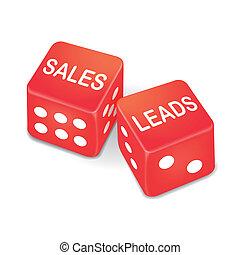 dados, dos, ventas, plomos, palabras, rojo