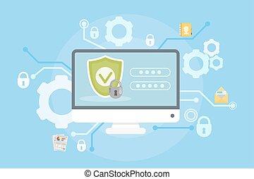 dados, e, computador, protection.
