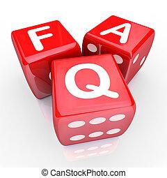 dados, faq, 3, preguntas, frequently, preguntado, rojo