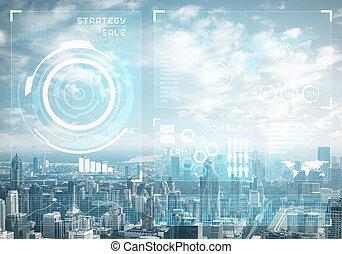 dados, fundo, cityscape, mercado conservado estoque