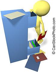 dados, homem, achar, arquivos, em, 3d, escritório, gabinete...