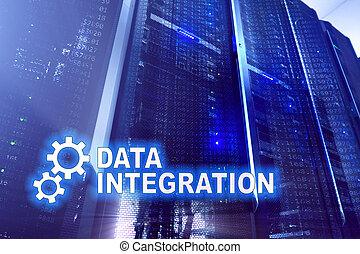 dados, integração, tecnologia informação, conceito, ligado, quarto usuário, experiência.
