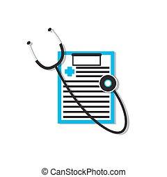 dados, médico, estetoscópio, documento