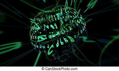 dados, matriz, ligado, girar, esfera