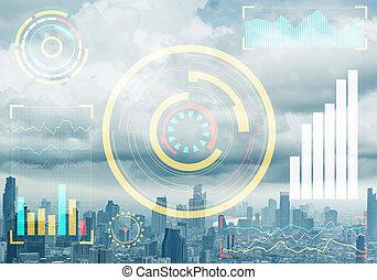 dados mercado conservado estoque, cityscape, fundo
