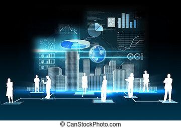 dados, negócio, fundo