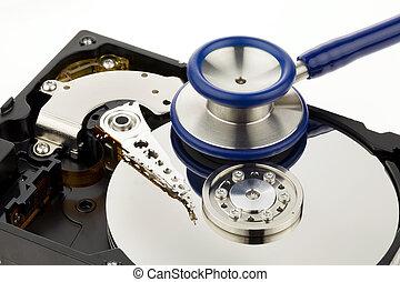 dados, recuperação, disco duro, de, a, computador