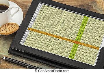 dados, spreadsheet, tabuleta, digital