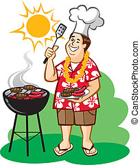 Dad's Barbecue (BBQ) - Vector Illustration of a happy man...