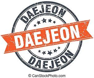 Daejeon red round grunge vintage ribbon stamp