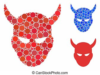 Daemon head composition of round dots in variable sizes and color tints, based on daemon head icon. Vector round dots are grouped into blue composition.