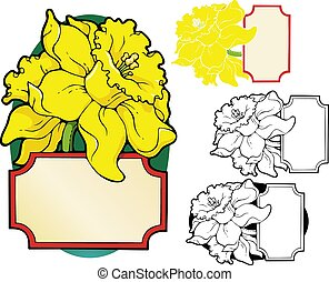 Daffodil bookplate - Bookplate style frame with enormous ...