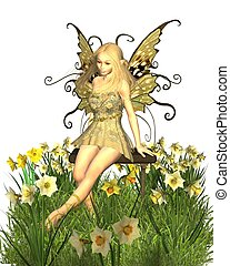 Fairy sitting on a bench surrounded by yellow spring daffodils, 3d digitally rendered illustration