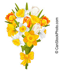 Daffodils and tulips - Bouquet of beautiful spring flowers, ...