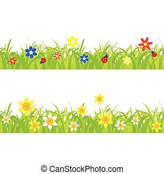 daffodils - daffodil and ladybugs on a grass background with...