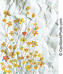Daffodils floral background on paper texture