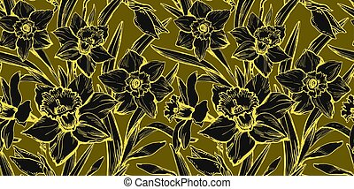 Daffodils flowers with Yellow Illuminating outline on khaki Gray.