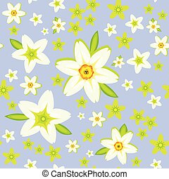 Daffodils on the blue seamless pattern