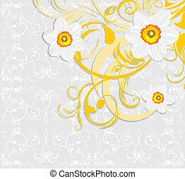 Daffodils. Ornamental background