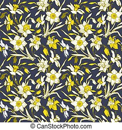 Daffodils Yellow Illuminating Drawn by Hand Flowers on Ultimate Gray.
