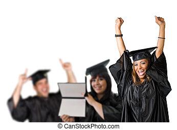 dag, afgestudeerd, vrolijke