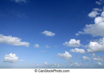 dag, blå, solfyldt, himmel, skyer, smukke, hvid