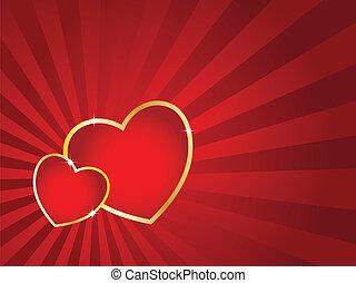 dag, card., randig, hjärtan, två, gyllene, vektor, bakgrund., valentinkort, slag
