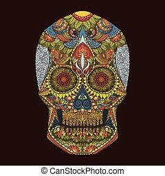 dag, dead., ornamentrd, blomningen, kranium, vektor, hand, oavgjord