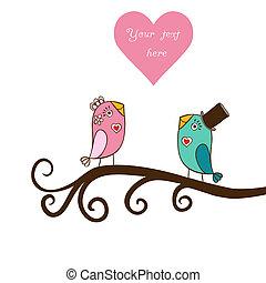dag, din, kort, text., illustration, plats, sittande, fåglar...
