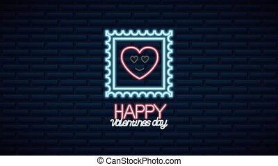 dag, geanimeerd, hart, neon, valentines, karakter, etiket