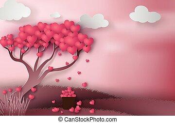 dag, hjärta, träd, papper, lycklig, konst, concept., illustration, valentinbrev, vector.