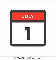 dag, juli, måned, kalender, ikon, 1