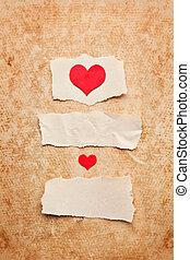 dag, liefde, grunge, stukken, papier, letter., achtergrond., valentine, afgescheurde