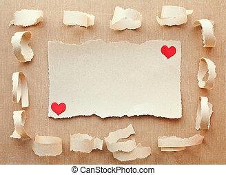 dag, liefde, met de hand gemaakt, kaart, letter., paper., valentine