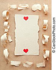 dag, liefde, stukken, met de hand gemaakt, kaart, letter., paper., valentine, afgescheurde
