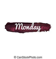 dag, noteren, weekend, kaart, illustratie, maandag, vrijstaand, pictogram, vector, hand, getrokken, week., woord