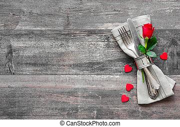 dag, plats, tabell sätta, valentinkort