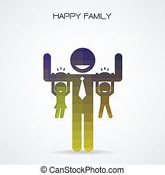 dag, 's, har, far, glade, far, morskab, hænge, datter, familie, søn, begreb, arme