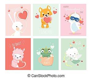 dag, schattig, set, kaarten, animals., valentines, gekke